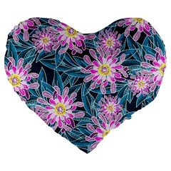 Whimsical Garden Large 19  Premium Flano Heart Shape Cushions