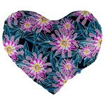 Whimsical Garden Large 19  Premium Flano Heart Shape Cushions Front
