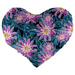 Whimsical Garden Large 19  Premium Flano Heart Shape Cushions Back
