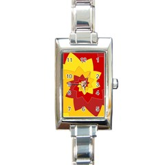 Flower Blossom Spiral Design  Red Yellow Rectangle Italian Charm Watch
