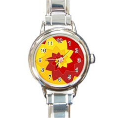 Flower Blossom Spiral Design  Red Yellow Round Italian Charm Watch