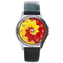 Flower Blossom Spiral Design  Red Yellow Round Metal Watch