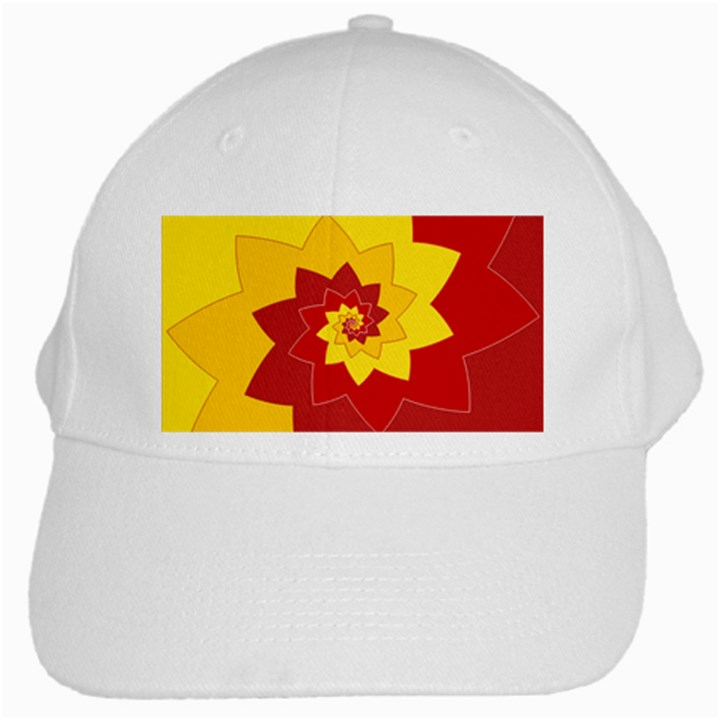 Flower Blossom Spiral Design  Red Yellow White Cap