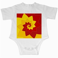 Flower Blossom Spiral Design  Red Yellow Infant Creepers