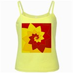 Flower Blossom Spiral Design  Red Yellow Yellow Spaghetti Tank Front