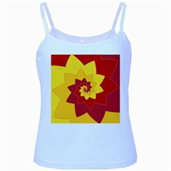 Flower Blossom Spiral Design  Red Yellow Baby Blue Spaghetti Tank