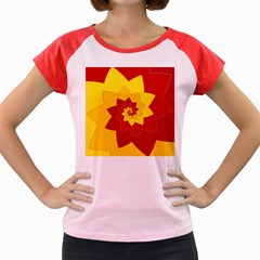 Flower Blossom Spiral Design  Red Yellow Women s Cap Sleeve T Shirt