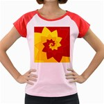 Flower Blossom Spiral Design  Red Yellow Women s Cap Sleeve T-Shirt Front