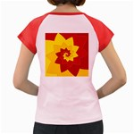 Flower Blossom Spiral Design  Red Yellow Women s Cap Sleeve T-Shirt Back