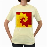 Flower Blossom Spiral Design  Red Yellow Women s Yellow T-Shirt Front