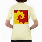 Flower Blossom Spiral Design  Red Yellow Women s Yellow T-Shirt Back