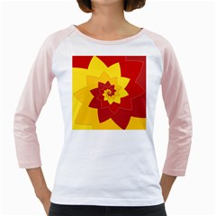 Flower Blossom Spiral Design  Red Yellow Girly Raglans