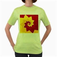 Flower Blossom Spiral Design  Red Yellow Women s Green T-Shirt