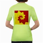 Flower Blossom Spiral Design  Red Yellow Women s Green T-Shirt Back