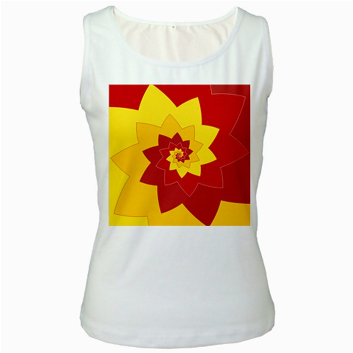 Flower Blossom Spiral Design  Red Yellow Women s White Tank Top