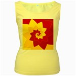 Flower Blossom Spiral Design  Red Yellow Women s Yellow Tank Top Front