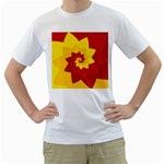 Flower Blossom Spiral Design  Red Yellow Men s T-Shirt (White) (Two Sided) Front