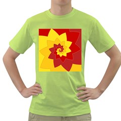 Flower Blossom Spiral Design  Red Yellow Green T Shirt