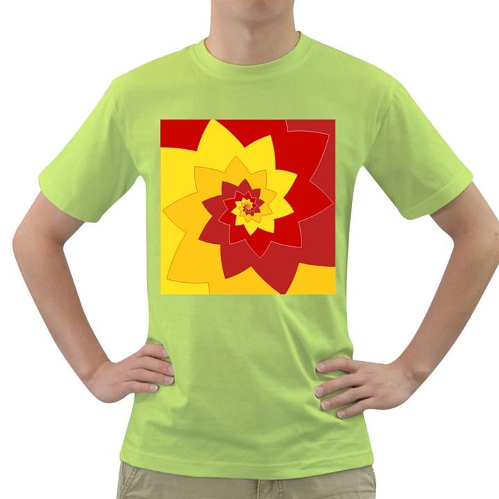 Flower Blossom Spiral Design  Red Yellow Green T-Shirt