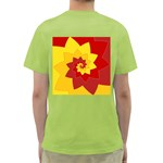 Flower Blossom Spiral Design  Red Yellow Green T-Shirt Back