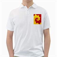 Flower Blossom Spiral Design  Red Yellow Golf Shirts