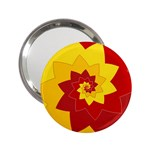 Flower Blossom Spiral Design  Red Yellow 2.25  Handbag Mirrors Front