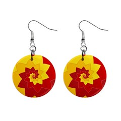 Flower Blossom Spiral Design  Red Yellow Mini Button Earrings