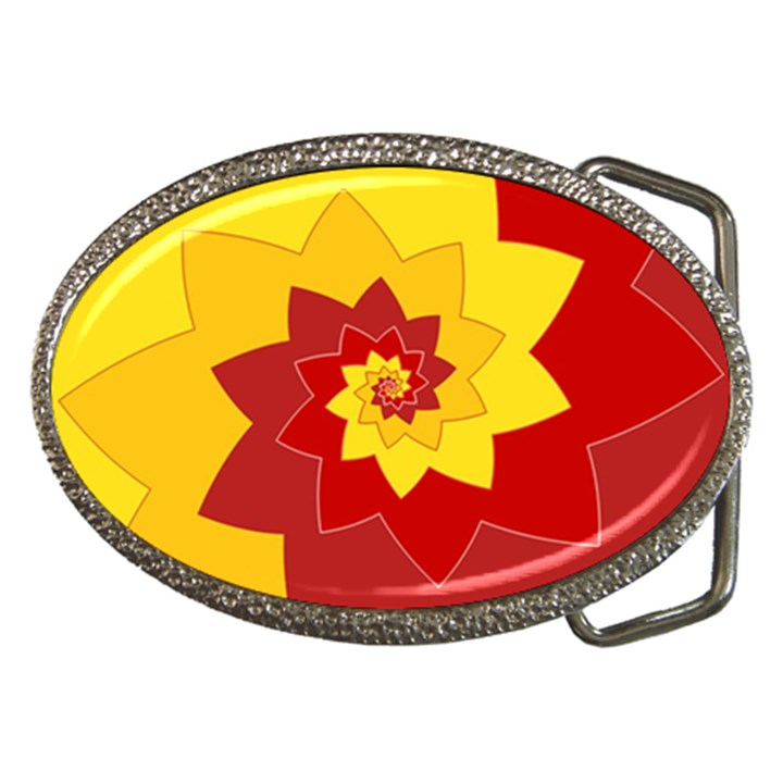 Flower Blossom Spiral Design  Red Yellow Belt Buckles