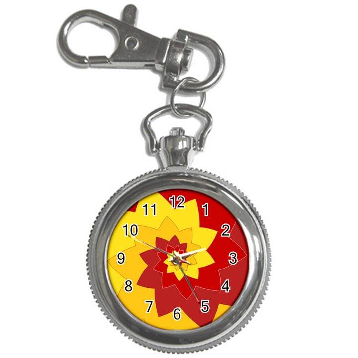 Flower Blossom Spiral Design  Red Yellow Key Chain Watches