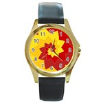Flower Blossom Spiral Design  Red Yellow Round Gold Metal Watch Front