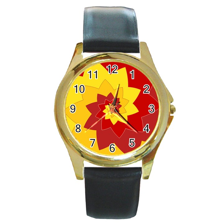 Flower Blossom Spiral Design  Red Yellow Round Gold Metal Watch