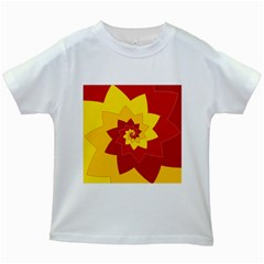 Flower Blossom Spiral Design  Red Yellow Kids White T Shirts