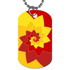 Flower Blossom Spiral Design  Red Yellow Dog Tag (One Side)