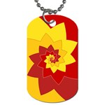 Flower Blossom Spiral Design  Red Yellow Dog Tag (Two Sides) Back