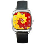 Flower Blossom Spiral Design  Red Yellow Square Metal Watch Front