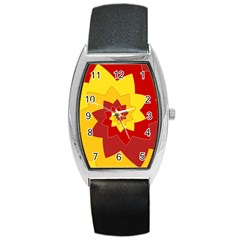 Flower Blossom Spiral Design  Red Yellow Barrel Style Metal Watch