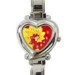 Flower Blossom Spiral Design  Red Yellow Heart Italian Charm Watch Front
