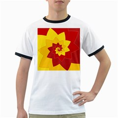 Flower Blossom Spiral Design  Red Yellow Ringer T-Shirts