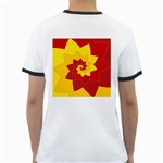Flower Blossom Spiral Design  Red Yellow Ringer T-Shirts Back