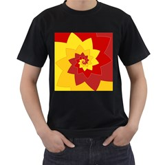 Flower Blossom Spiral Design  Red Yellow Men s T Shirt (black) (two Sided)