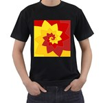 Flower Blossom Spiral Design  Red Yellow Men s T-Shirt (Black) (Two Sided) Front