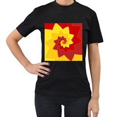 Flower Blossom Spiral Design  Red Yellow Women s T Shirt (black) (two Sided)