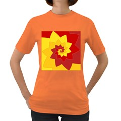 Flower Blossom Spiral Design  Red Yellow Women s Dark T Shirt