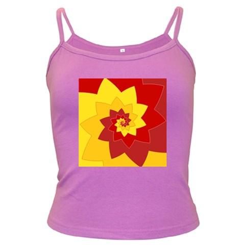 Flower Blossom Spiral Design  Red Yellow Dark Spaghetti Tank