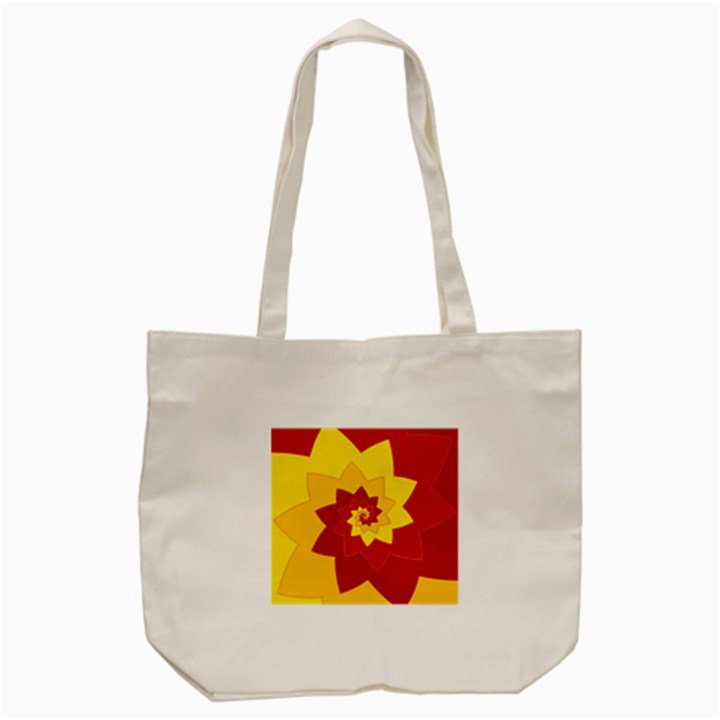 Flower Blossom Spiral Design  Red Yellow Tote Bag (Cream)