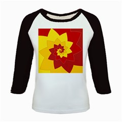 Flower Blossom Spiral Design  Red Yellow Kids Baseball Jerseys