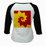 Flower Blossom Spiral Design  Red Yellow Kids Baseball Jerseys Back