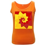 Flower Blossom Spiral Design  Red Yellow Women s Dark Tank Top Front