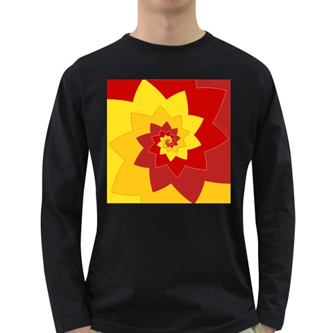 Flower Blossom Spiral Design  Red Yellow Long Sleeve Dark T-Shirts