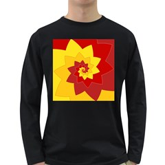 Flower Blossom Spiral Design  Red Yellow Long Sleeve Dark T Shirts
